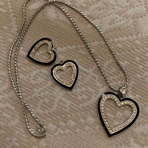 Art Deco Heart Shaped Necklace and Earring Set